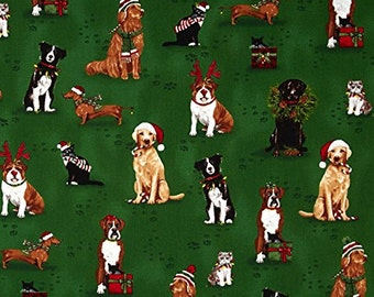 Holly Jolly Christmas - Holiday Dogs + Cats - From Robert Kaufmann - Evergreen (AMK-15177-224)  - 1 Yard - 8.50 Dollars
