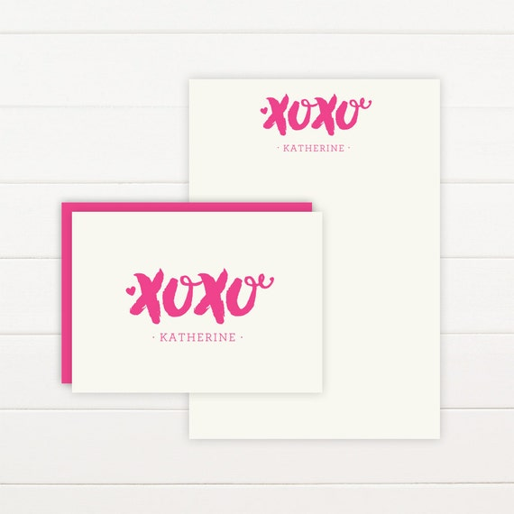 XOXO Personalized Stationery + Notepad Set, Personalized Notepad and Personalized Stationary