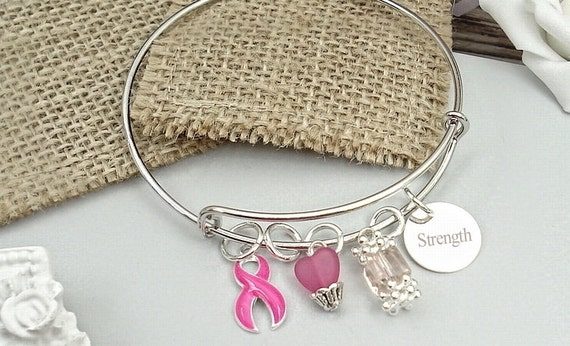 Wire Charm Personalized Bracelet Infamatory Breast Cancer, Mastectomy Jewelry, Fighter & Support, Fight Like A Girl #W2