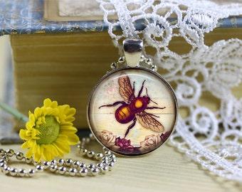 Queen Bee Pendant, Shabby Bee Pendant, Honey Bee Pendant, Queen Bee Necklace, Vintage Honey Bee, Bee Lover Necklace