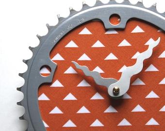 Bicycle Gear Clock - Orange Triangles | Bike Clock | Wall Clock | Recycled Bike Parts Clock