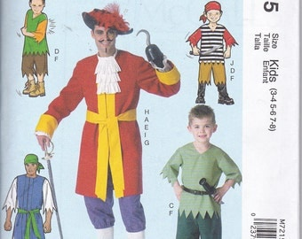 McCalls 7215 Boys Kids Captain Hook Pirate and Peter Pan Costumes Sewing Pattern Sizes 3-8 NEW