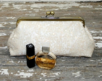 Bridesmaids' Gift, Bridal Party Bags, Gift Idea Bridal Party, Bridesmaid Party Clutches - Ivory Sequin Clutch