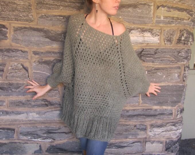 Crochet sweater Raglan sleeves, dark sage, cashmere blend