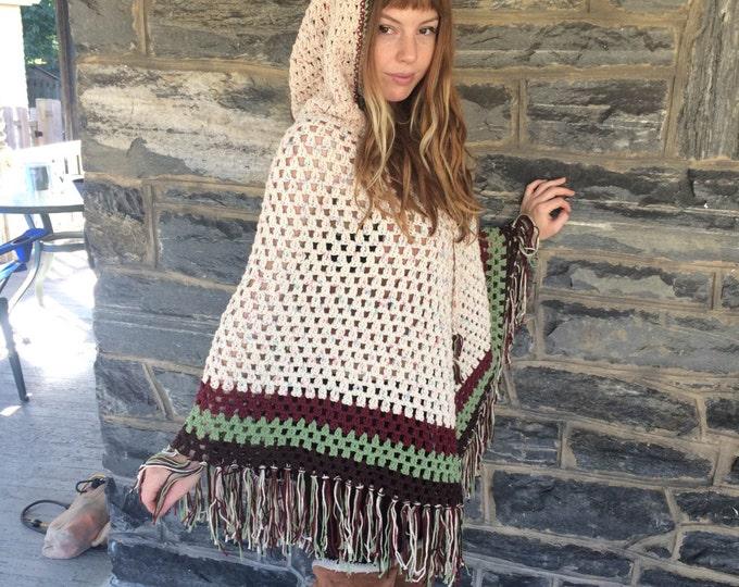 HOODED CROCHET PONCHO/ Women's poncho/ gift for her/ boho fringe poncho/  Crochet poncho/ fringe poncho /Festival poncho,/Hippie poncho