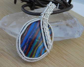 Rainbow Calsilica Wire Wrapped in Silver Parawire Pendant  Leather Cord Mexican Stone of Controversy Southwest Handmade Jewelry Wire Wrap