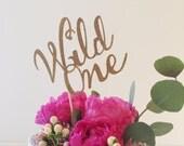 Gold Glitter Wild One Cake Topper//Bohemian Centerpiece//1st Birthday Pow Wow Birthday Cake Topper - Boho chic Baby Shower Centerpiece