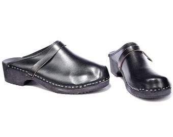 Vintage CLOGS 70s Leather Wood Platform Mules Black Slingback Traditional Scandinavian Sandals Chunky Summer Shoes US men 9 Eur 43 Uk 8.5