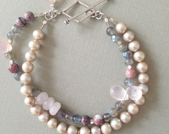 Multi Strand Labradorite & Pearl Bracelet, Chalcedony, Artisan Bracelet, Sterling Silver Toggle