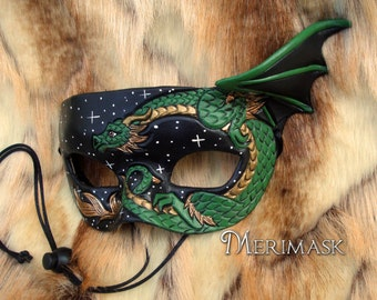 READY TO SHIP Green Dragon Starry Night Mask... original leather masquerade costume galaxy mardi gras halloween burning man starry night