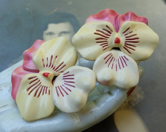 Vintage Celluloid Pansy Earrings Early Plastic Screw Back