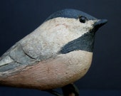 wonderful american folk art carved chickadee bird wood carving  primitive sculpture
