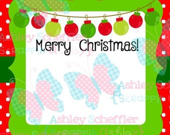 Christmas Tag. Ornament Tags. Merry Christmas.  Gift Tag. Printable. Favor Tag. Tag. Square Tag. Printable Tag. Instant Download. PDF File