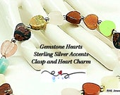 Chakra Bracelet - Mixed Gemstone Heart Bracelet Sterling Silver Clasp -  B2007-BB