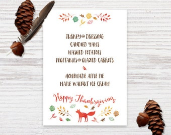 Thanksgiving Dinner Menu Cards - Thanksgiving Themed - Holiday Celebration - DIY Printable - Digital PDF File