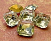 Christmas in July Sale - Vintage Glass 12x12mm Glass Transparent Clear Rhinestone Jewels (49-9F-6)