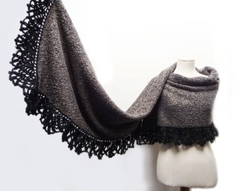 Fabric and Crochet Shawl Scarf Wrap - Brown, Black, Gold Bouclé Fabric Stole with Black and Gold Mohair Crochet Lace Borders