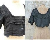 Vintage Antique 1900 German black crepe jacket /Tradition la Haute Hesse costume size L