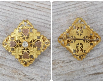 Vintage Antique 1900/1910 Edwardian French plated gold clovers & hearts brooch