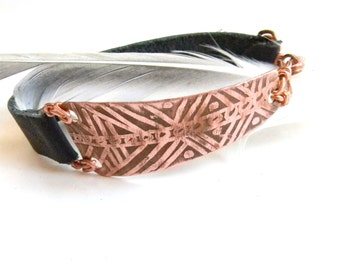Etched Tribal Copper and Black Leather Bracelet (B1196)