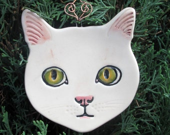 White Cat with green yellow eyes Ceramic hanging ornament