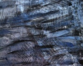 Hand painted modern fabric with fern leaves in shimmering blue, black and silver colors, fat 1/2 yd
