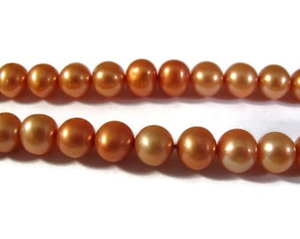 Labor Day SALE - Orange Freshwater Pearls, Natural Large Pale Copper Pearls, Peach Potato Pearls, 7mm-8mm, 15.5 Inch Strand, about 62 pearls