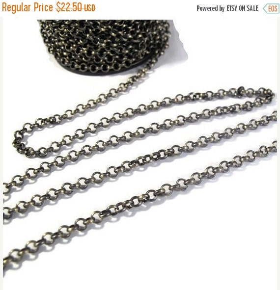 May SALE Ten Feet : Antique Brass Chain, 4mm Plated Rolo Chain for Making Jewelry, Vintage Looking Chain, Large Chain (40099156)