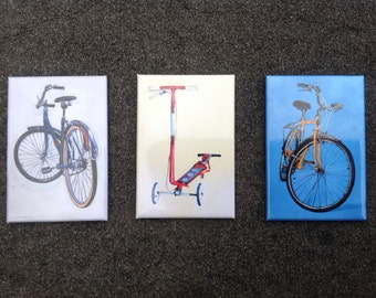 Town Bikes and a Scooter - Bicycle Paintings Art Magnet Set