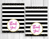 4x6 Printable Thank You Note - Black and White Stripes - Hot Pink and Gold Glitter - Baby Shower, Bridal Shower, Birthday - Tent Folded