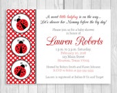 Custom Printable 4x6 or 5x7 A Little Ladybug is On the Way Lady Bug Themed Girl's Baby Shower Invitation - Red and White Polka Dots