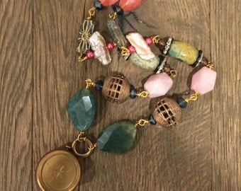 Vintage FOB and gemstone pink, blue, green one of a kind repurposed necklace
