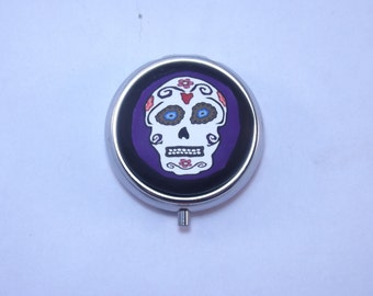 Pill Box,  Sugar Skul,l Day of the Dead Polymer Decorated Container
