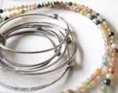organic hammered circles with tiny Jasper gemstones necklace by modern bird - minimalist design