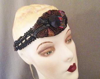 Vintage 1920s Gatsby Headband, Headpiece, Deco Black, Red, Copper, Blues, Victorian Jet Beads, Dramatic