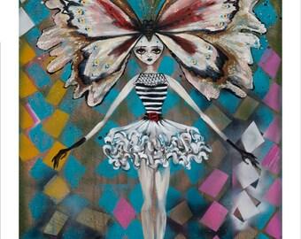 Circus Girl, Butterfly, Diamonds, Day of the Dead, sugar skulls, Dia de los Muertos, Pop Surrealism Fine Art Print, Heather Renaux-unframed