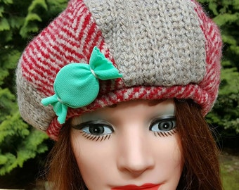 Red and Beige Candy Beret
