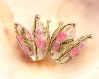 1 Handmade Lampwork Flower Pair
