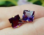 Alexandrite, Color Change, Lab Grown, Lab Created,8mm or 6mm Square, Faceted Gemstone, Silver or Gold Plated Sew On Settings June Birthstone