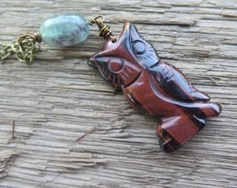 Owl Necklace Earthy - Red Tigerseye - Brass Chain - Dark Burgundy with Fluorite - Animal Gypsy Jewelry - Boho Chic - Bohemian Jewelry