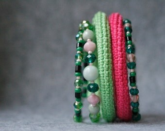 coil crochet bracelet - bright pink and green beaded wrap bracelet - modern crochet jewelry