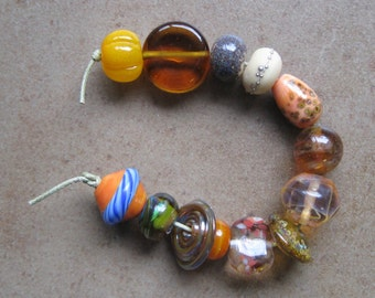 Lampwork Beads - SueBeads - Orphan Bead Set - Variety Bead Set - Handmade Lampwork Beads - SRA M67