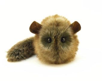Stuffed Chinchilla Stuffed Animal Plush Toy Chinchilla Kawaii Plushie Butterscotch Golden Brown Cuddly Faux Fur Chinchilla Small 4x5 Inches