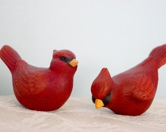Cardinal Birds - Ceramic Cardinals - Red Birds - Cardinal sculpture - pair of birds - Christmas birds - gift for Mom - Christmas decor