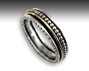 Silver Wedding band, Gold silver ring, stacking ring, fidget ring, anxiety ring, spinning ring, unisex ring, mens ring - Enchanting R2188