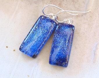 Purple Earrings, Blue, Dichroic Earrings, Glass Earrings, Fused Glass Jewelry, Dangle, Sterling Silver, A10