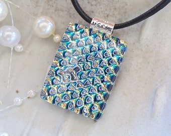 Dichroic Pendant, Glass Jewelry, Aqua, Necklace Included, A5