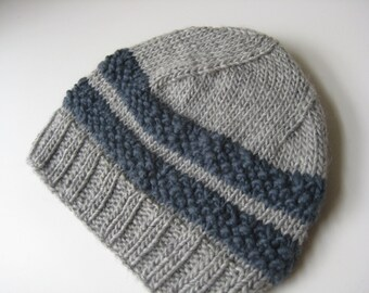 hand knit light gray and blue wool hat