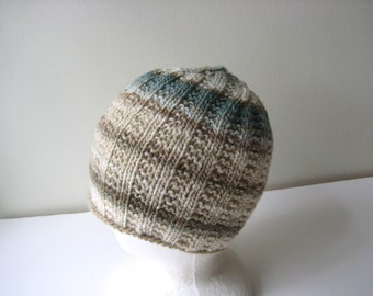 knit hat tan blue cream wool hat
