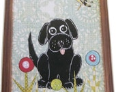 Dog Leash Holder, Hanger, Hook, Key Holder, Hanger, Hook, Wall Hanging Plaque, Nursery Baby's Room, Black Labrador Puppy, 5x7, MADE TO ORDER